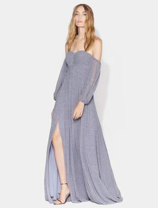 Halston Printed Off Shoulder Pleated Gown