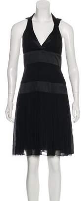 Marchesa Silk Pleated Dress