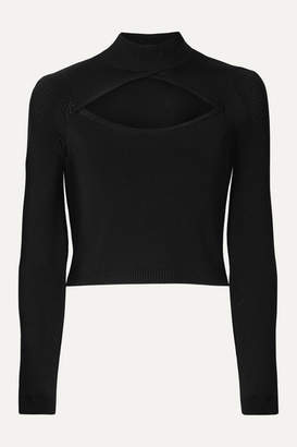 Fleur Du Mal Cutout Pointelle-paneled Stretch-knit Turtleneck Top - Black