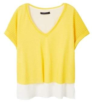 Violeta BY MANGO Combined mesh t-shirt