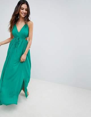 Asos Design DESIGN Halter Maxi Beach Dress With Cut Out Sides