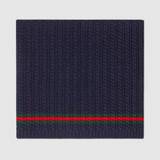 Gucci Cable-knitted wool baby blanket with Web