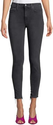 Joe's Jeans Charlie Distressed-Back Ankle Jeans, Black
