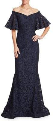 Teri Jon by Rickie Freeman Off-The-Shoulder Lace Gown