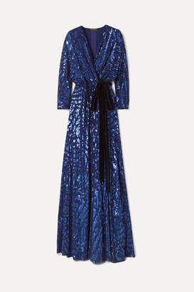Jenny Packham Lamour Velvet-trimmed Sequined Silk-chiffon Wrap Gown - Navy