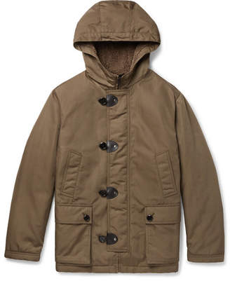 Tod's Leather-Trimmed Faux Shearling-Lined Shell Hooded Jacket