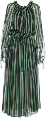 MSGM Chiffon Puffed Sleeve Long Dress