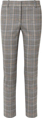 Theory Prince Of Wales Checked Stretch Wool-blend Straight-leg Pants - Gray