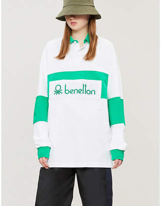Benetton Ladies Red and White Unisex Logo-Embroidered Cotton-Jersey Polo Shirt
