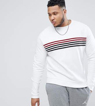 Asos Design PLUS Sweatshirt In White With Velour Stripes