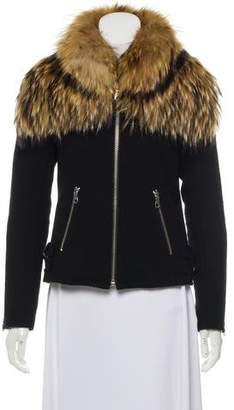 Mr & Mrs Italy Wool Fur Trim Jacket