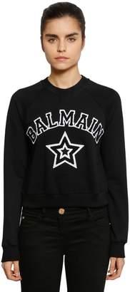 Balmain Logo Patches Cropped Jersey Sweatshirt