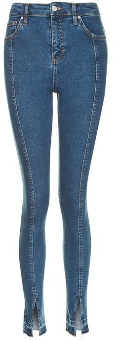 TopshopTopshop Moto blue split hem jamie jeans