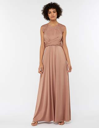 Monsoon Yasmeen Lace Jersey Maxi Bridesmaid Dress