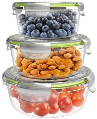 Glass Food Storage Containers-6-Pc. Set with Snap on Lids-Multi-Size Meal Prep Bowls- Microwave, Dishwasher and Refrigerator Safe by Classic Cuisine