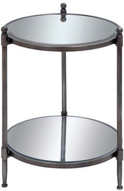 DecMode Decmode 24 X 18 Inch Modern Metal and Mirror Round Accent Table With Bottom Shelf, Gray