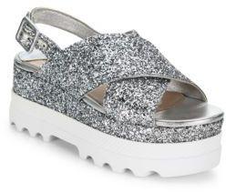 Miu Miu Glitter Crisscross Platform Slingback Sandals