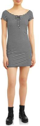 Eye Candy Juniors' Keyhole with Neck Tie Detail Dress