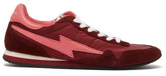 Isabel Marant Bustee Lightning Bolt Leather And Suede Trainers - Womens - Burgundy