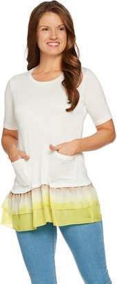 Logo By Lori Goldstein LOGO by Lori Goldstein Solid Top with Tie-Dye Woven Ruffle Hem