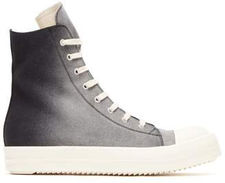 Rick Owens High Top Ombre Canvas Trainers - Mens - Black