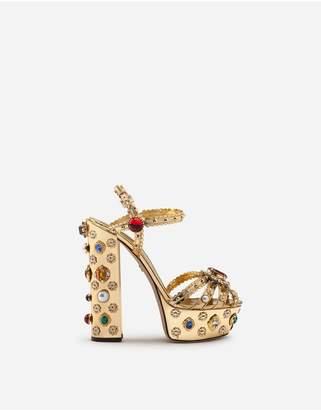 Dolce & Gabbana Bejeweled Platform Sandals In Mirrored Calfskin