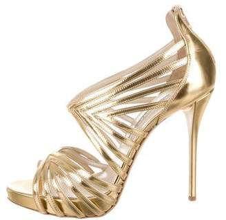 Oscar de la Renta Metallic Bree Cage Sandals