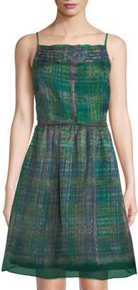 Leon Max Fit-&-Flare Plaid-Print Silk Dress