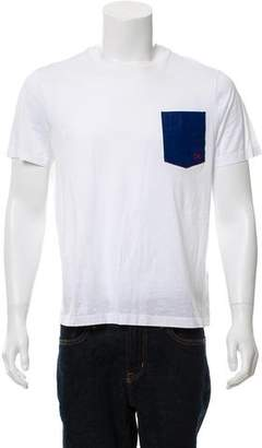 Salvatore Ferragamo Leather Detail Short Sleeve T-Shirt