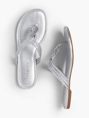 d4ed96b3c ... Talbots Cece Braided Thong Sandals - Faux Metallic Nappa
