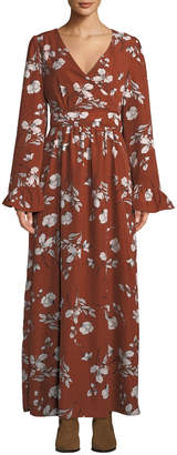 Ash Rain+Oak Hailey Ruffle-Sleeve Maxi Wrap Dress