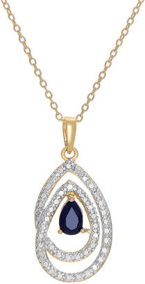 Genevive 14K Gold Over Silver Sapphire & Cz Necklace