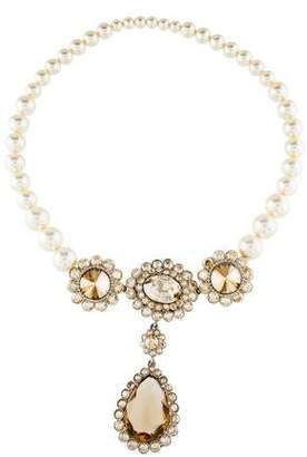 Miu Miu Graduated Faux Pearl & Crystal Collar Necklace