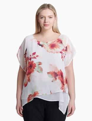 Calvin Klein plus size floral asymmetrical hem short sleeve top