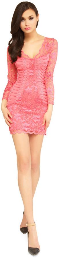 Sentimental NY - Lace V-Neck Dress With Ruched Side Details