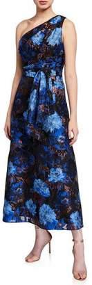 Aidan Mattox One Shoulder Floral Jacquard Broach Draped Dress