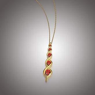 Platinum Plated Sterling Genuine Garnet Pendant Necklace