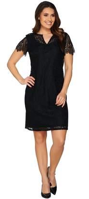 C. Wonder Garden Party Split Neck Short Sleeve Lace Dress