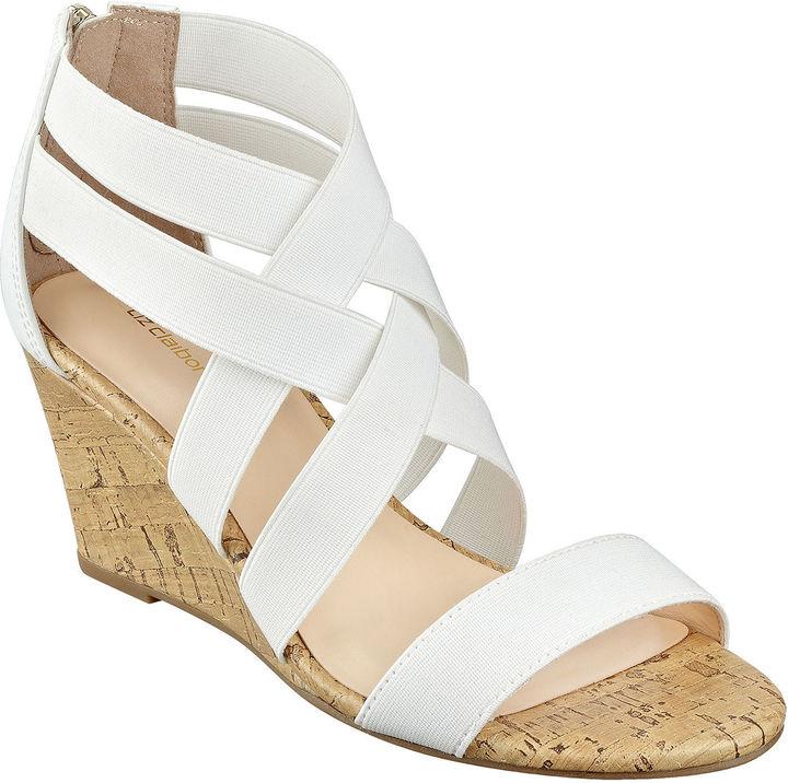 liz claiborne rockele stretch wedge sandals shopstyle
