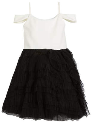 Zoe Nikki Draped-Shoulder Dress w/ Ruffle Tulle Skirt, Size 7-16