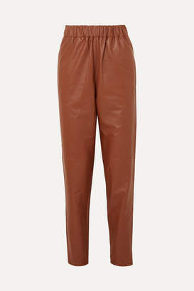 Tibi Leather Tapered Pants - Brown