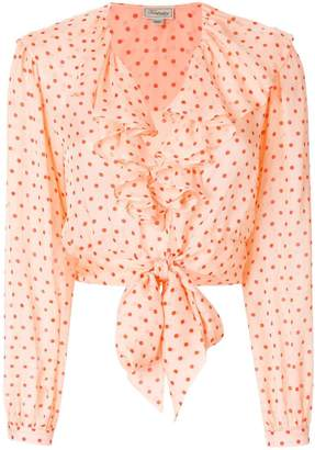 Temperley London dot printed ruffle blouse