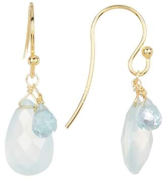 Candela 18K Yellow Gold Vermeil Briolette Blue Chalcedony Teardrop Earrings