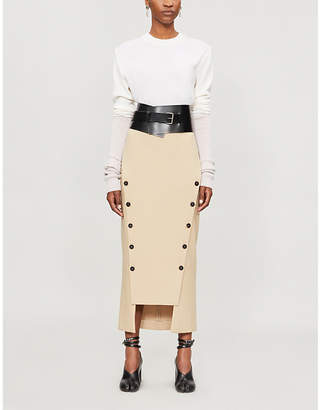 Awake Button-detail jersey midi skirt