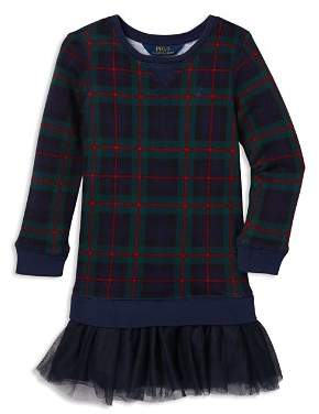 Ralph Lauren Girls' Tulle Terry Plaid Sweatshirt Dress - Little Kid