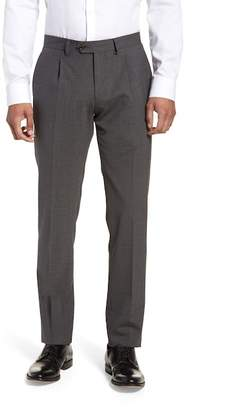 Eleventy Pleat Front Stretch Solid Wool Trousers