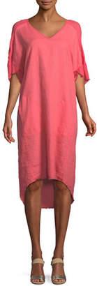 XCVI Raw-Edge High-Low Linen Dress, Plus Size