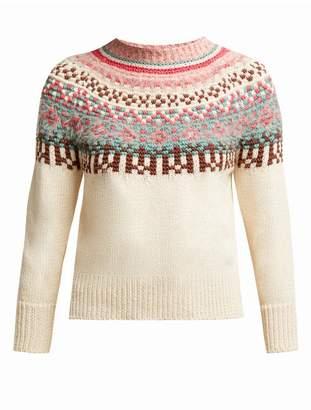 Max Mara Fair Isle Patterned Cotton Sweater - Womens - Cream Multi