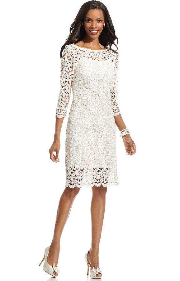 Marina Dress, Three-Quarter-Sleeve Lace Sheath
