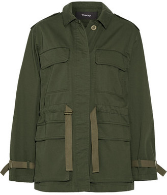 Theory - Thornwood Grosgrain-trimmed Cotton-twill Jacket - Army green $455 thestylecure.com